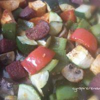 Makkelijke ovenschotel met groentes en chorizo